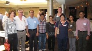 The Nepali Bir Hospital Burn Unit team (GAP 2013): Assistant Prof Hilary Wallace; Jerry Pilcher (Rotary); Dr Dahal Peeyush (surgeon); Bir Bahadur Lama (counsellor); Nara Devi Bariya (Head Nurse); Dr Dale Edgar (RPH BU, Snr PT) and Joy Fong (RPH BU, CNC); Krishna Sworee Shrestha (Senior Nurse – 2IC); Narayan Prashad Sharma (counsellor)