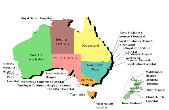 Map Of Australia Tasmania And New Zealand.Burn Units Anzba Australian New Zealand Burn Association